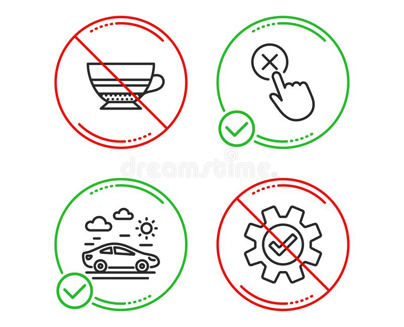 Ensemble d'icônes de clic de moka, de trajet en voiture et de rejet Entretenez le signe Tasse de café, transport, bouton de suppr illustration stock