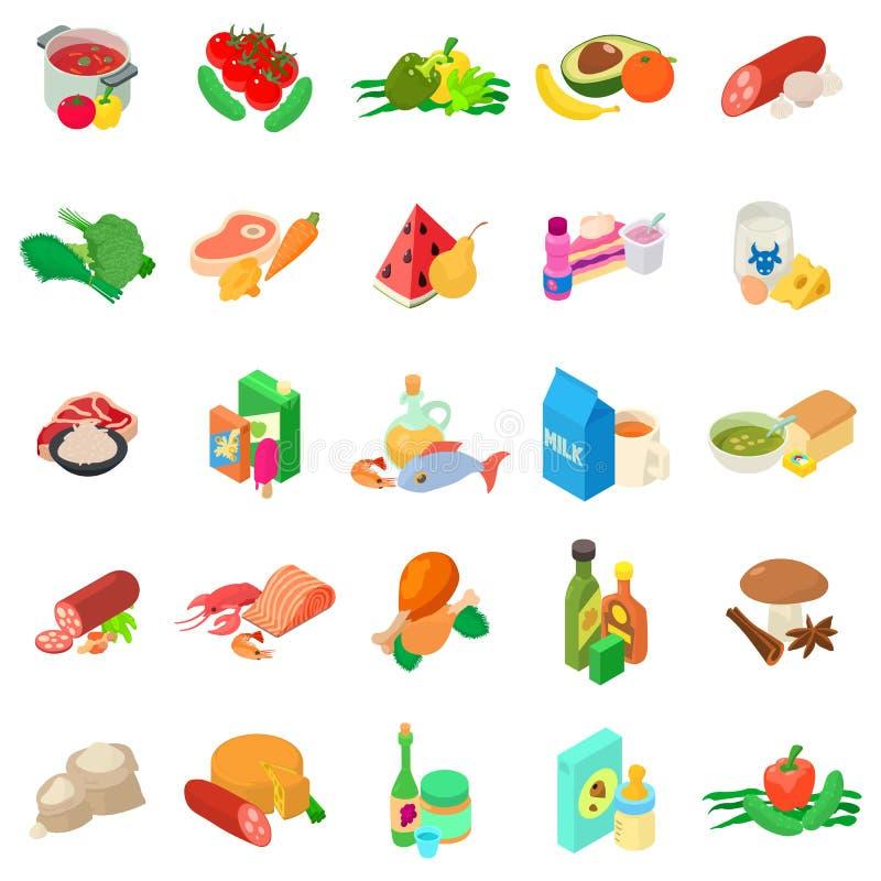 Ensemble d'icônes de cuisine du monde, style isométrique illustration stock