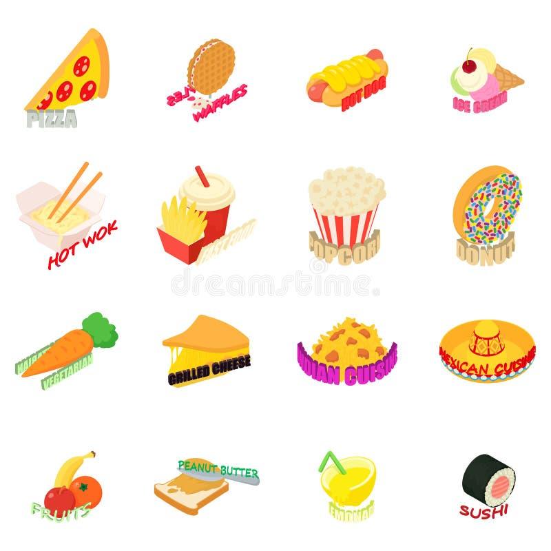 Ensemble d'icônes de cuisine de pays, style isométrique illustration stock