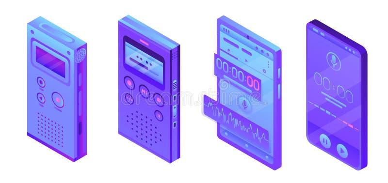 Ensemble d'icônes de dictaphone, style isométrique illustration libre de droits
