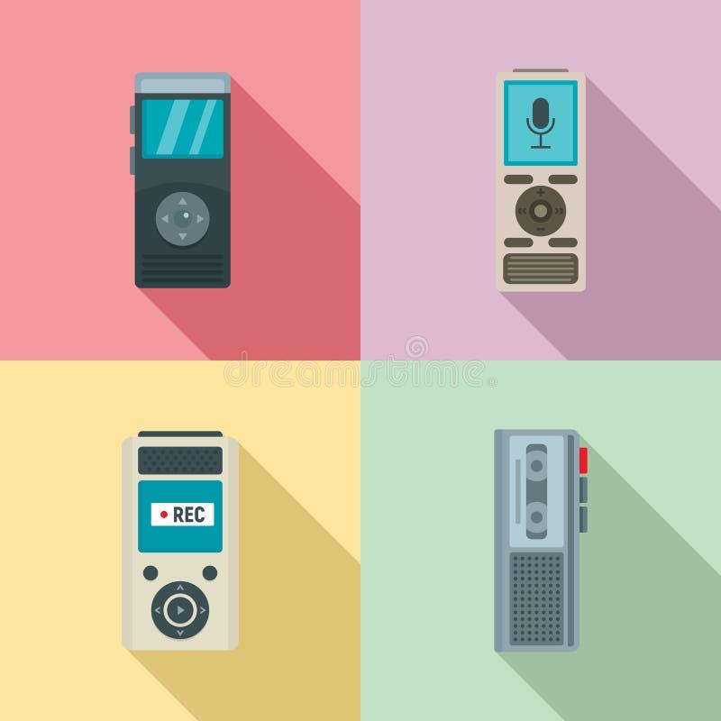 Ensemble d'icônes de dictaphone, style plat illustration libre de droits