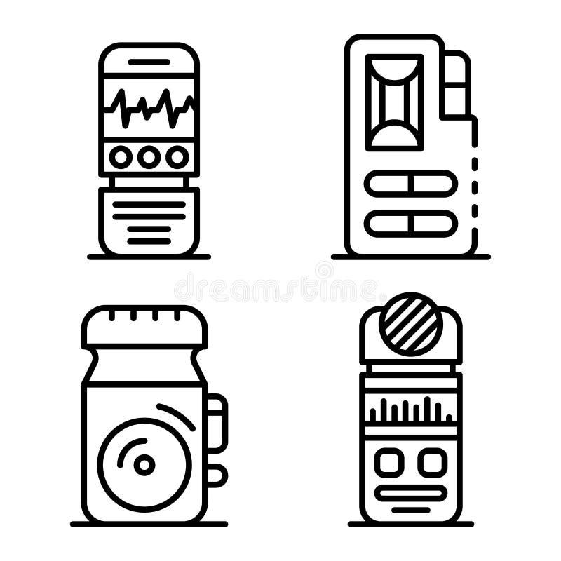 Ensemble d'icônes de dictaphone, style d'ensemble illustration de vecteur