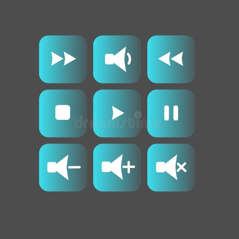 Ensemble d'icônes de disparition de bleu et de petit morceau sur le fond gris photographie stock