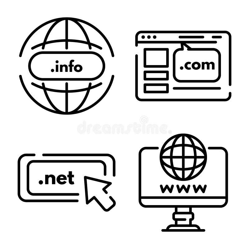 Ensemble d'icônes de domaine, style d'ensemble illustration stock