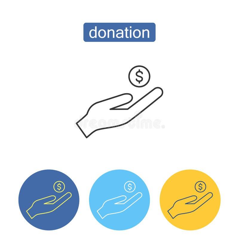 Ensemble d'icônes d'ensemble de donation d'argent liquide illustration de vecteur