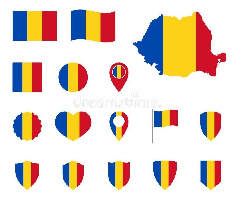 Ensemble d'icônes de drapeau de la Roumanie, symboles du drapeau de la Roumanie illustration de vecteur