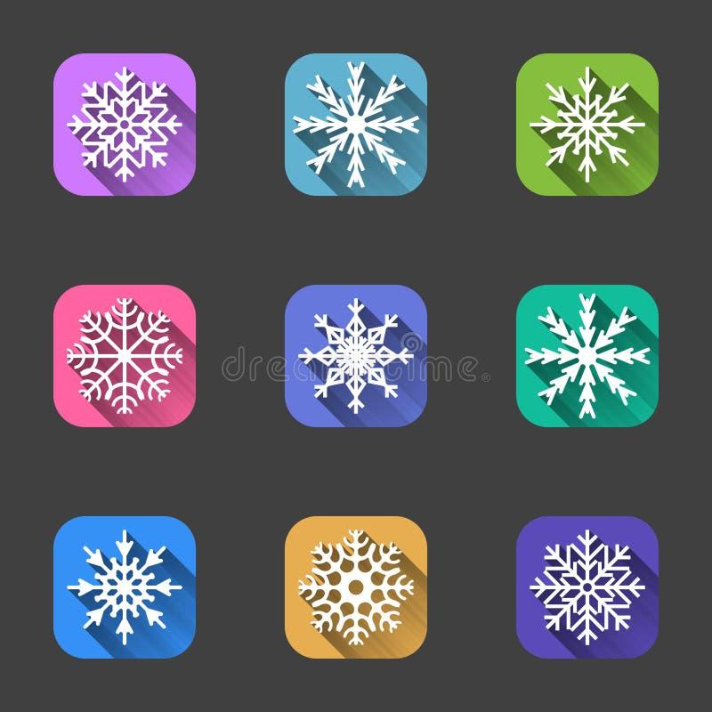 Ensemble d'icônes de flocon de neige sur les milieux carrés multicolores pour les applications et l'Internet Vecteur sur un fond  illustration libre de droits