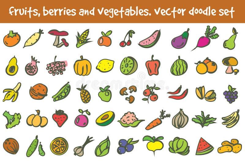 Ensemble d'icônes de fruits, de baies et de légumes de griffonnage de vecteur Signes courants de bande dessinée pour la conceptio illustration de vecteur