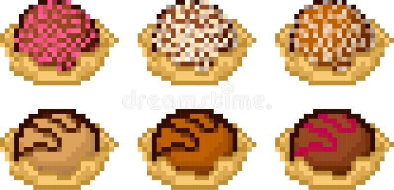 Ensemble Dicônes De Gâteaux Dans Le Style De Pixel