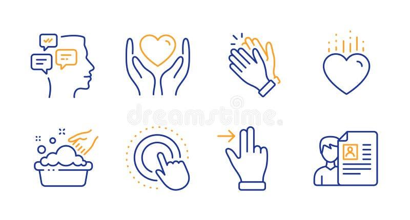 Ensemble d'icônes de geste de coeur, de messages et d'écran tactile Tenez le coeur, le lavage de main et les signes de applaudiss illustration de vecteur