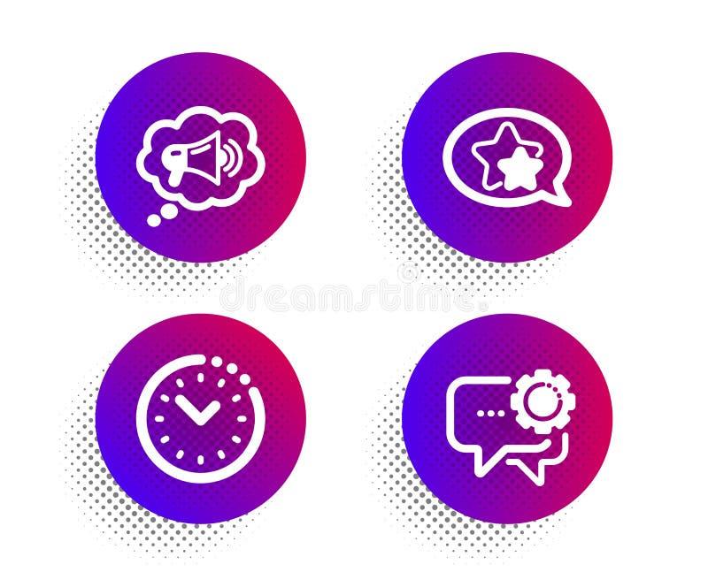 Ensemble d'icônes de gestion du temps d'étoile, de mégaphone et Signe de messager des employés Préféré, message de marque, horlog illustration libre de droits
