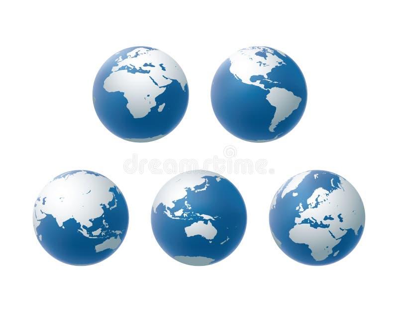 Ensemble d'icônes de globe de vecteur en raison de tout le continent illustration de vecteur