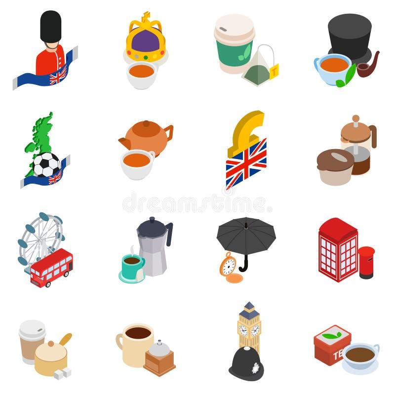 Ensemble d'icônes de la Grande-Bretagne, style isométrique illustration stock