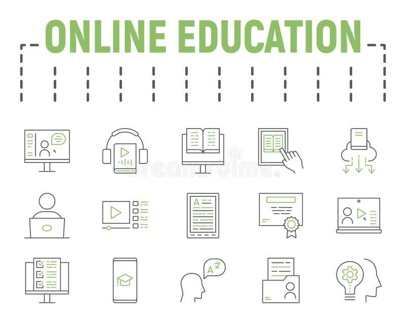 Ensemble d'icônes de ligne de couleur de l'enseignement en ligne, collection de symboles d'apprentissage à distance, croquis vect photo stock