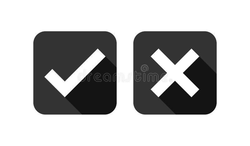 Ensemble d'icônes de liste de case à cocher, noir d'isolement sur le fond blanc, illustration de vecteur illustration stock