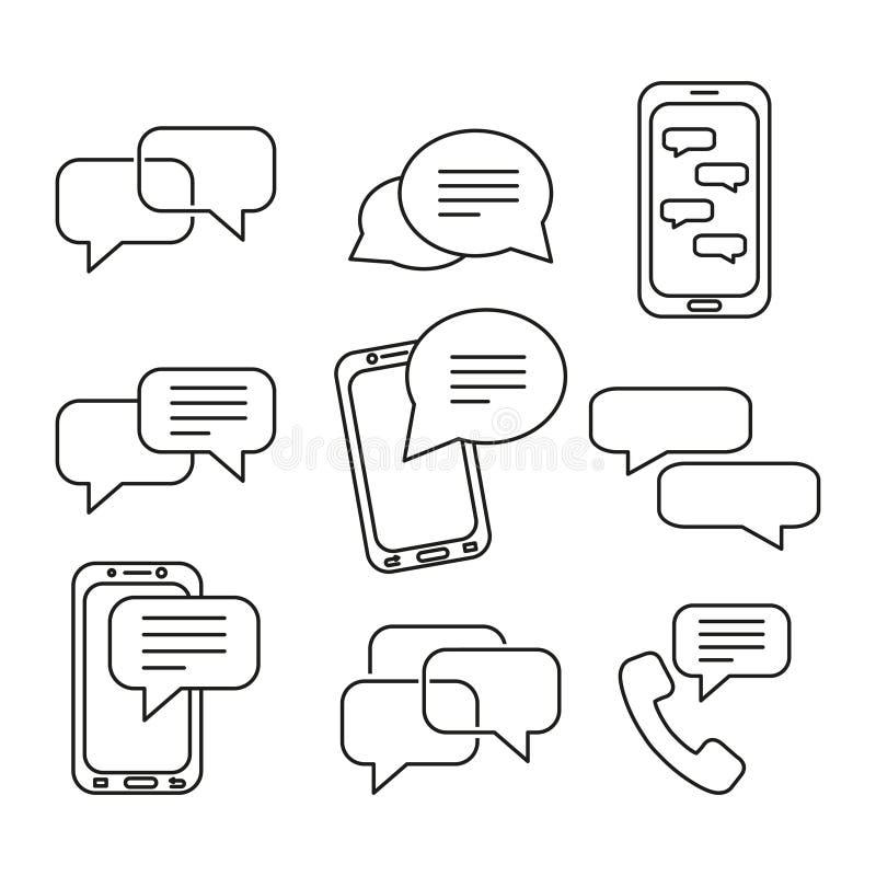 Ensemble d'icônes de message illustration stock