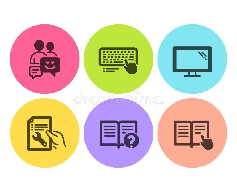 Ensemble d'icônes de moniteur, d'aide et de communication Clavier d'ordinateur, document de réparation et signes lus d'instructio illustration stock