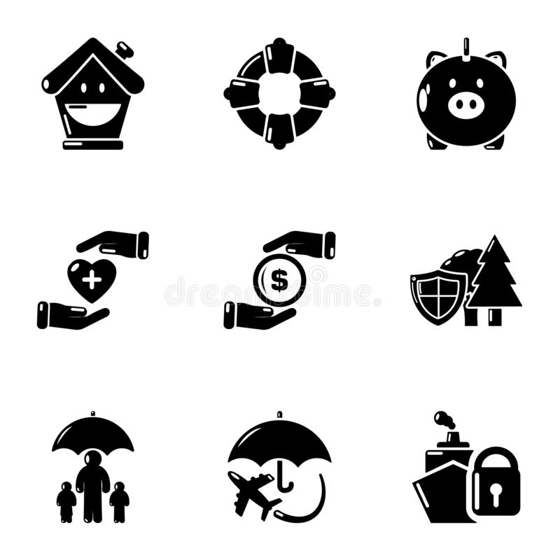 Ensemble d'icônes de moyens de donation, style simple illustration stock
