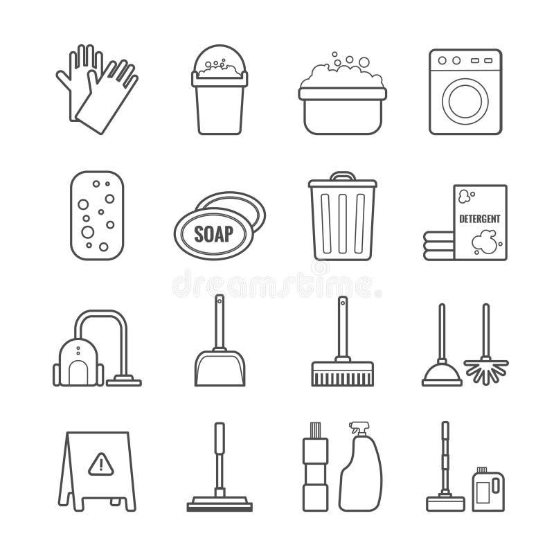 Ensemble d'icônes de nettoyage d'ensemble de vecteur pour le web design illustration libre de droits