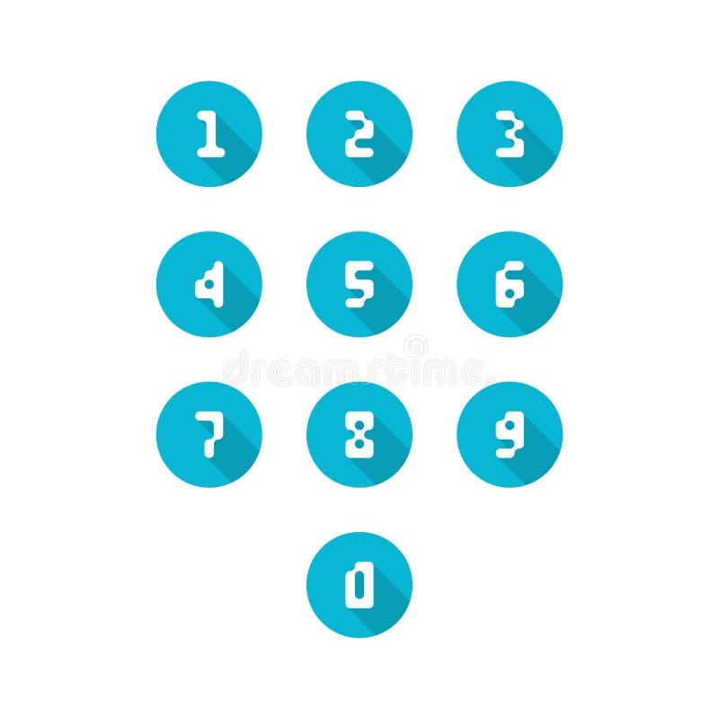 Ensemble d'icônes de nombre 0-9 nombres de pixel Illustration de vecteur illustration stock