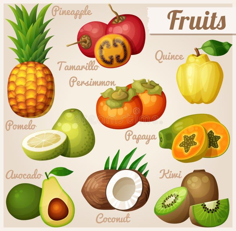 Ensemble d'icônes de nourriture de bande dessinée Fruits exotiques Ananas d'ananas, tamarillo, coing, kaki illustration de vecteur