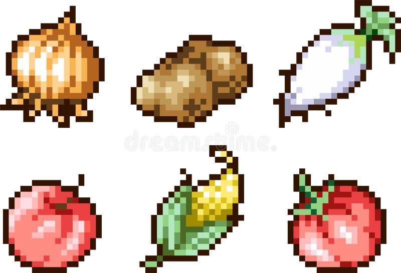 Ensemble d'icônes de nourriture dans le style de pixel illustration stock