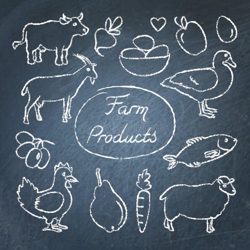 Ensemble d'icônes de nourriture de ferme dans le style de croquis sur le tableau illustration stock