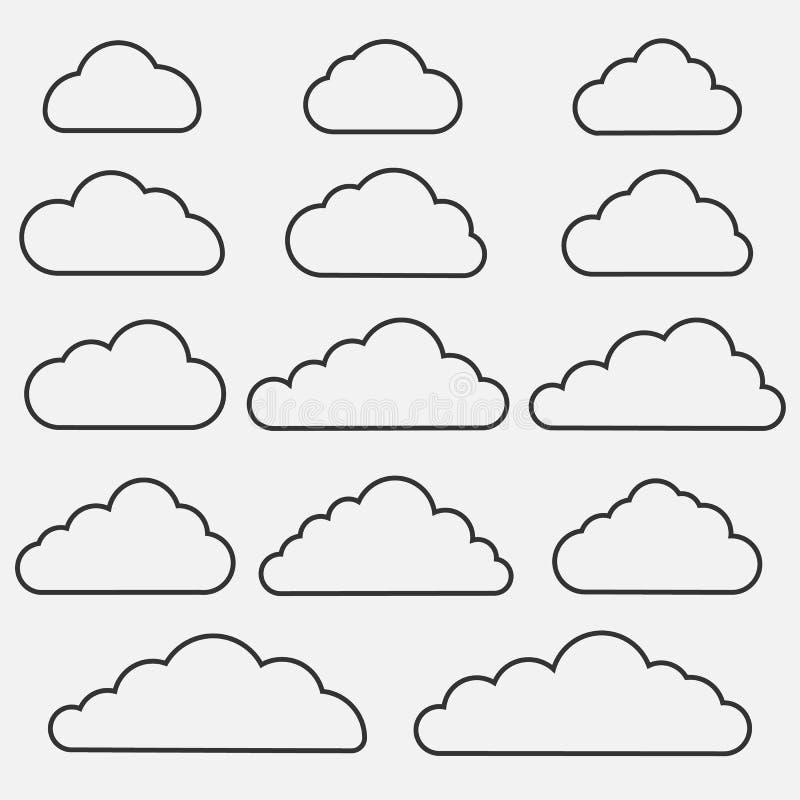 Ensemble d'icônes de nuage sur le fond bleu Collection de différentes icônes de nuage Illustration de vecteur illustration de vecteur