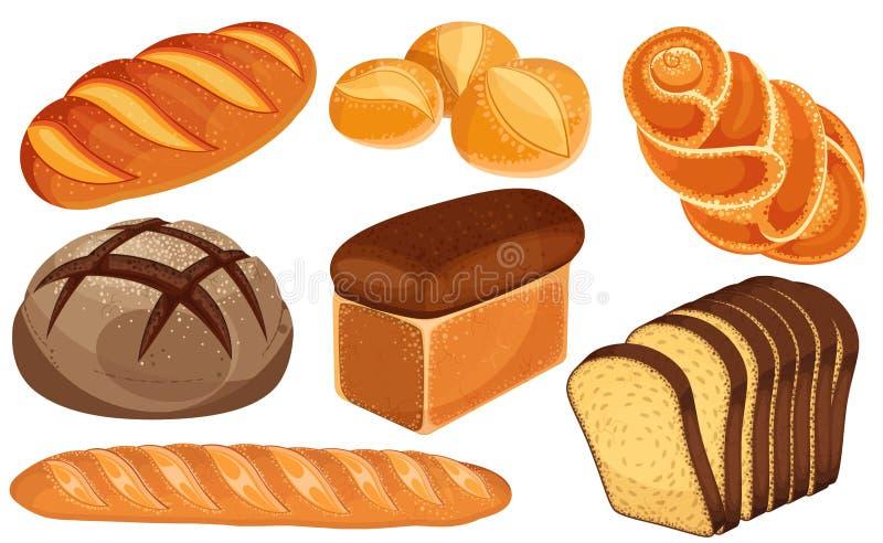 Ensemble d'icônes de pain de vecteur Long pain, pain de seigle, baguette, petits pains, pain blanc, pain coupé en tranches, brioc illustration de vecteur