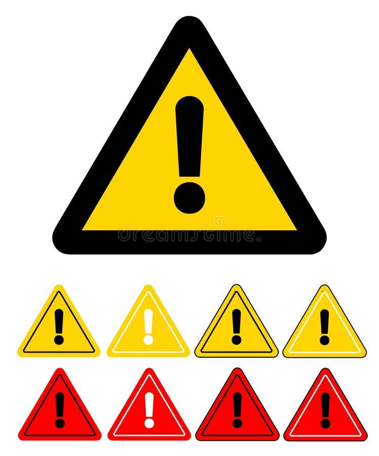 Ensemble d'icônes de précaution de triangle Signe d'attention Illust courant de vecteur illustration de vecteur