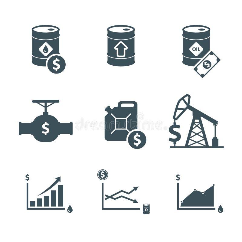 Ensemble d'icônes de prix des produits de base d'huile illustration stock