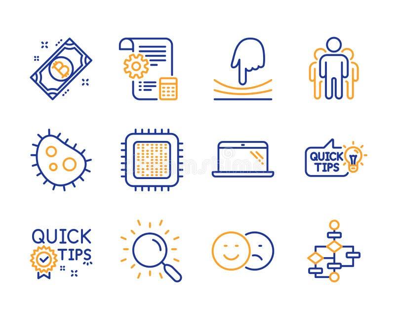 Ensemble d'icônes de processeur de groupe, de bactéries et d'unité centrale de traitement Astuces, signes rapides d'élastique et  illustration de vecteur
