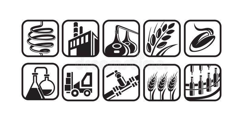 Ensemble d'icônes de production de distillerie illustration stock
