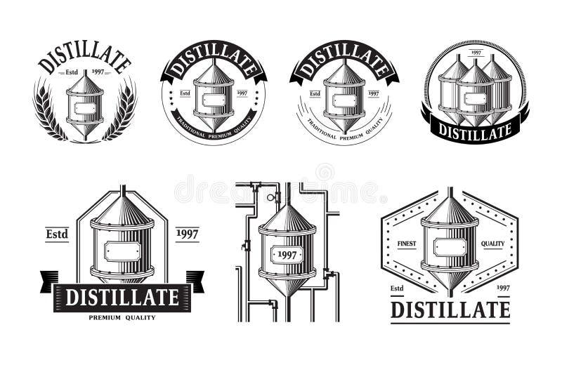 Ensemble d'icônes de production de distillerie illustration de vecteur