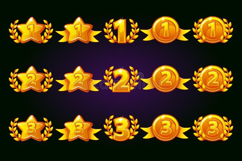 Ensemble d'or d'icônes de récompenses 1er, 2ème, variation différente de 3ème endroit Guirlande de laurier d'étoile de victoire e illustration de vecteur
