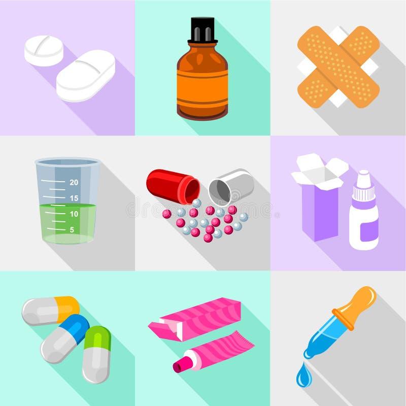 Ensemble d'icônes de résultat de santé, style plat illustration libre de droits