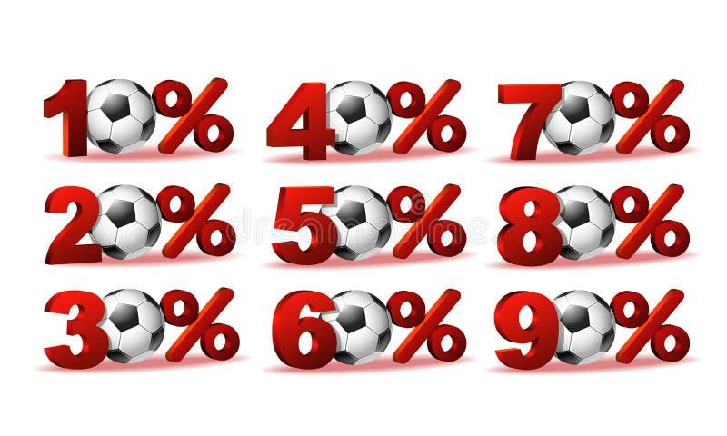 Ensemble d'icônes de remise de pour cent avec du ballon de football illustration libre de droits