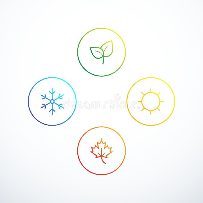 Ensemble d'icônes de saison Assaisonne l'infographics Illustration de vecteur illustration libre de droits