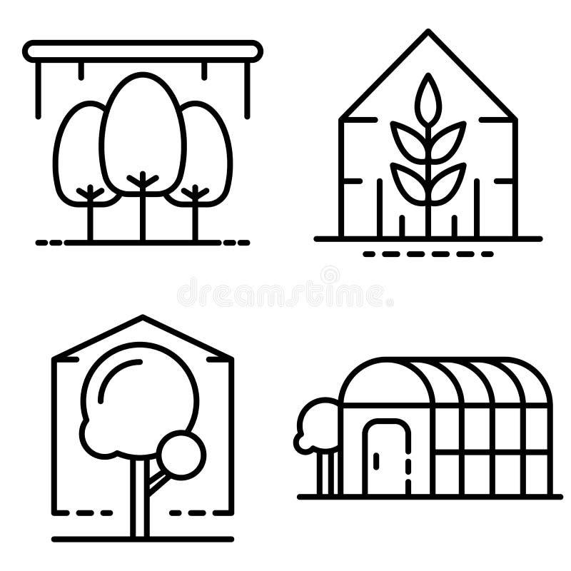 Ensemble d'icônes de serre chaude, style d'ensemble illustration de vecteur