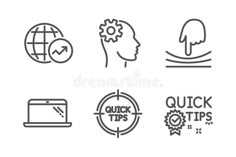 Ensemble d'icônes de statistiques d'ordinateur portable, d'élastique et du monde Ingénierie, astuces et signes rapides d'astuces  illustration stock