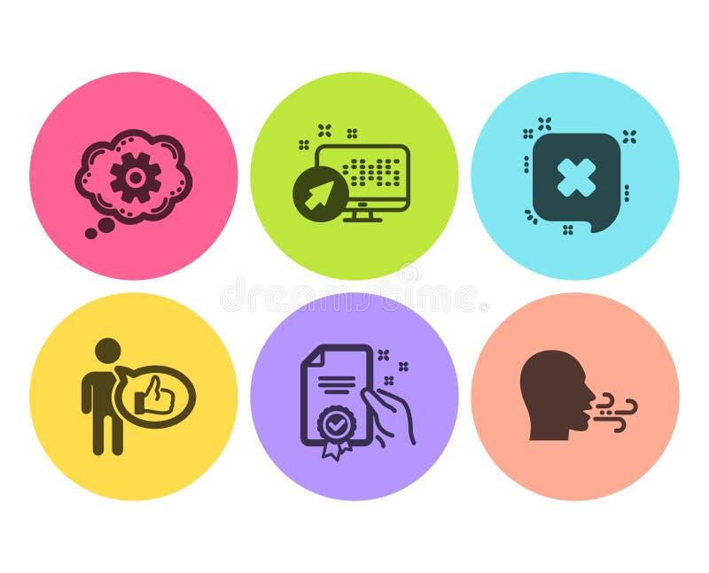 Ensemble d'icônes de système de rejet, de goût et de Web Roue dentée, certificat et signes de respiration d'exercice Vecteur illustration de vecteur