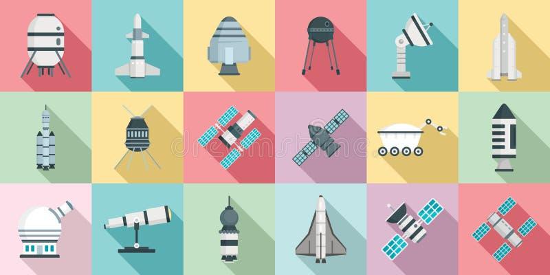 Ensemble d'icônes de technologie de recherche spatiale, style plat illustration de vecteur