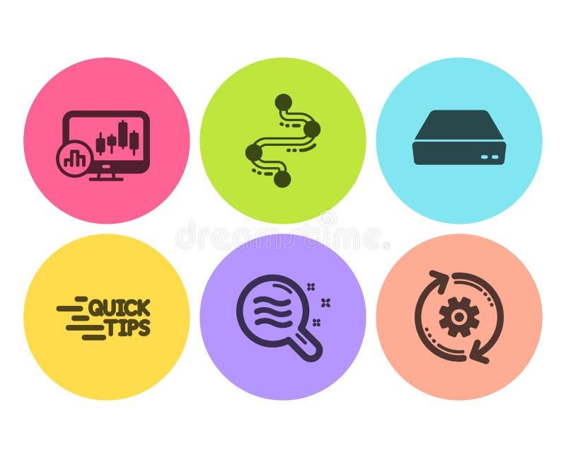 Ensemble d'icônes de teint, de chronologie et d'éducation Diagramme de chandelier, mini PC et signes de roue dentée Vecteur illustration de vecteur