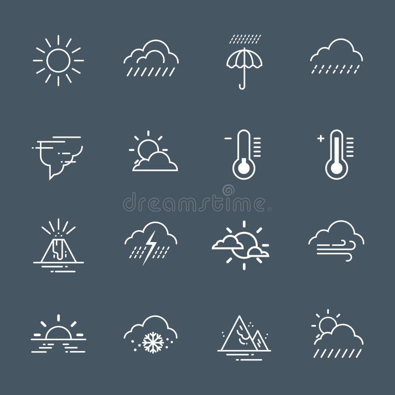 Ensemble d'icônes de temps sur Grey Background Climate Forecast Collection illustration de vecteur