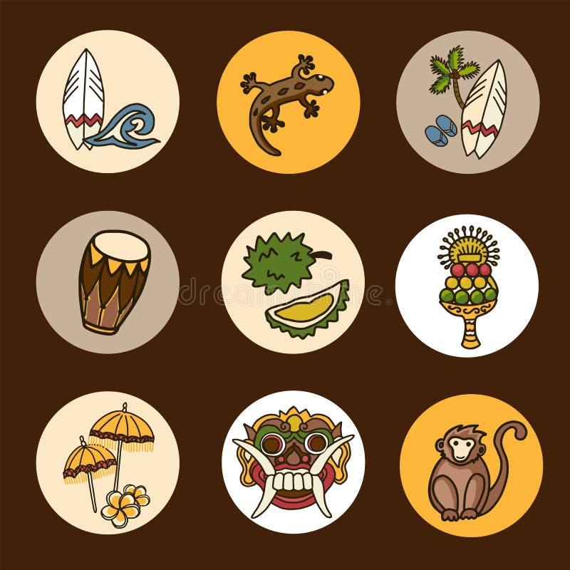 Ensemble d'icônes de vecteur de Bali photo stock