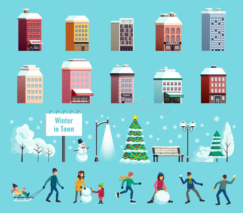 Ensemble d'icônes de ville d'hiver illustration libre de droits