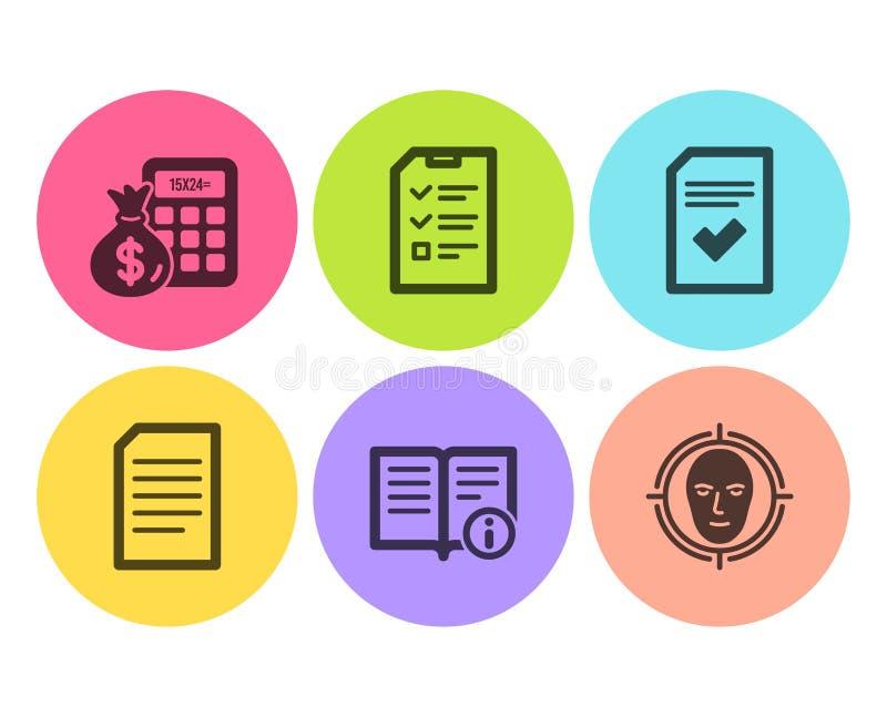 Ensemble d'icônes dossier, de calculatrice vérifiés d'entrevue et de finances L'information technique, le document et le visage d illustration stock