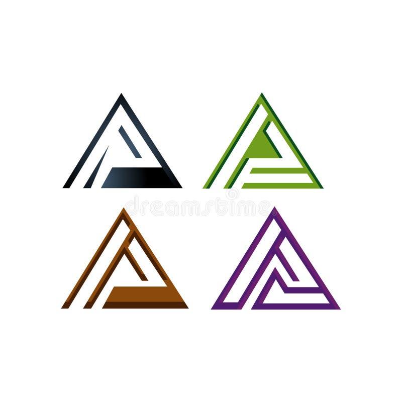 ensemble d'icônes du logo du triangle Abstract pour Tech Corporate Business Company illustration libre de droits