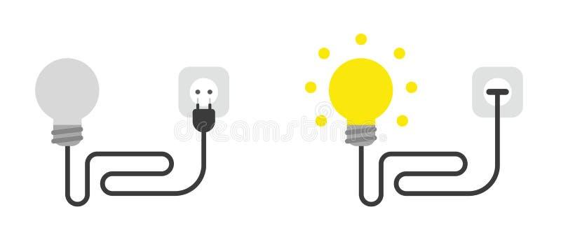 Ensemble d'icônes du vecteur avec câble, prise et branché sur la prise de courant et éclatant illustration de vecteur