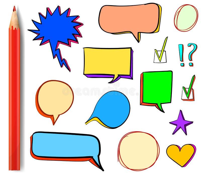 Ensemble d'icônes du VECTEUR 3d : le coche, étoile, coeur, la parole bouillonne, les éléments multicolores de conception avec le  illustration libre de droits